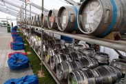 Beer casks on stillage