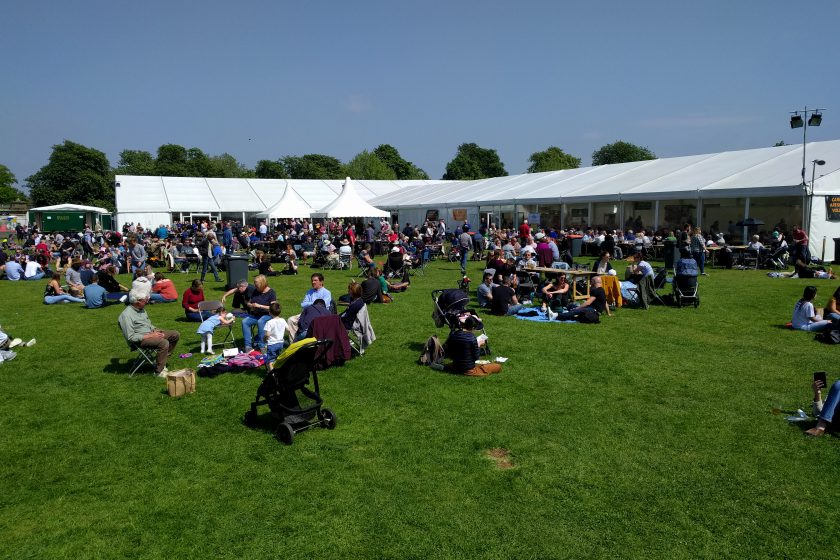 The garden of the Cambridge Beer Festival