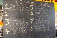 German beer list at 12.00 on 17 November 2018