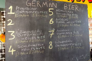 German beer list at 12.00 on 17 November 2018
