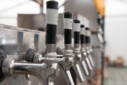 A row of taps for German beer at Cambridge beer festival
