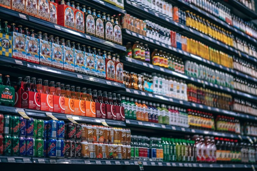 soft drinks in cans in a shop