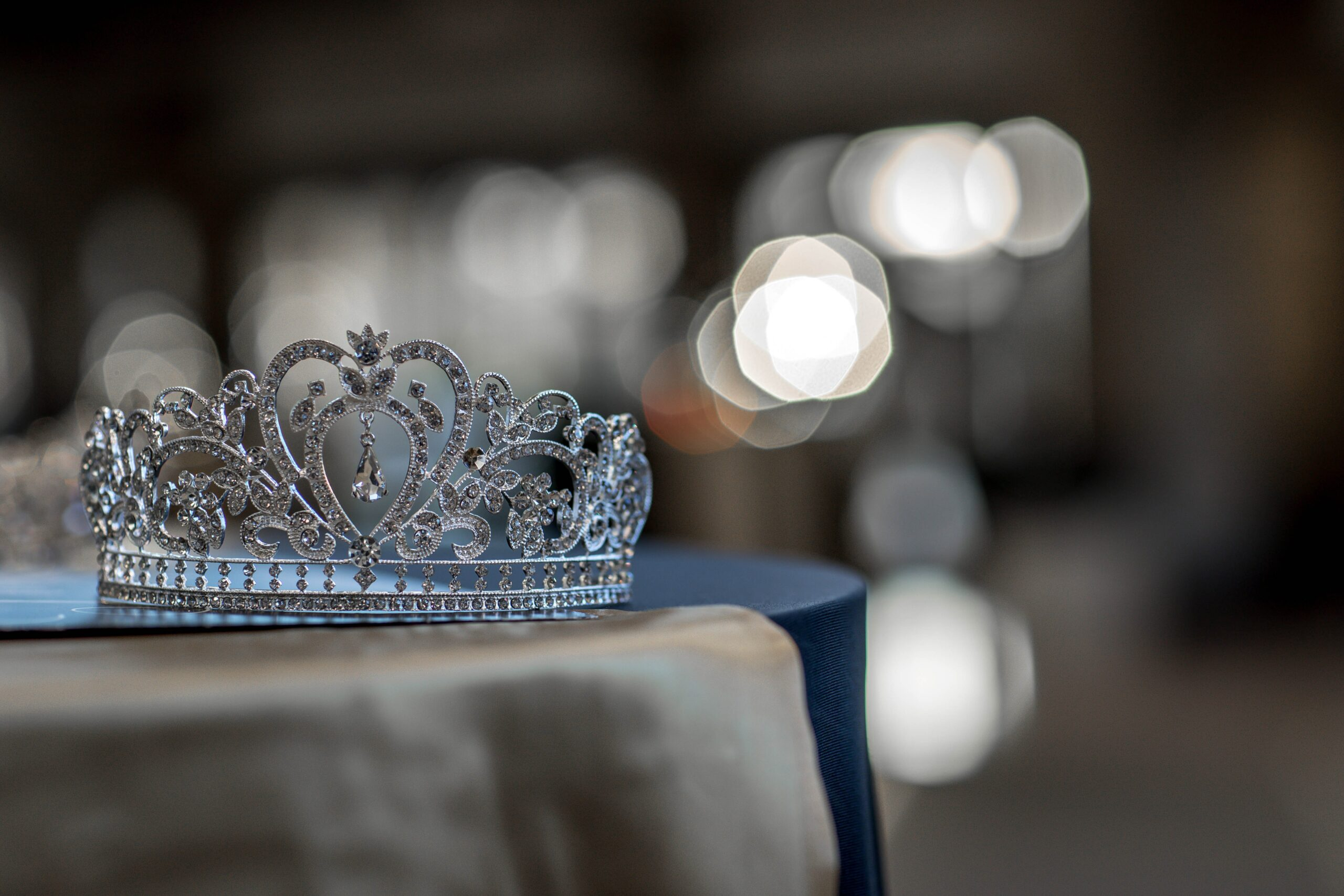crown with jewel on a table